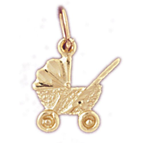 Pendantobsession'S 14K Yellow Gold 16Mm Baby Stroller Charm Pendant back-176871