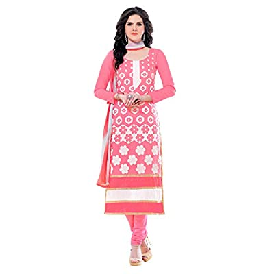 EthnicCrush Women's Cotton Unstitched Embroidered Salwar Kameez(EC3383PRK5633,Pink)