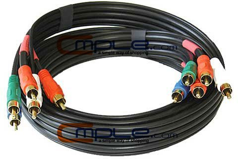 Component Video Audio Cable 5-RCA Gold HDTV RGB YPbPr - 6 FT