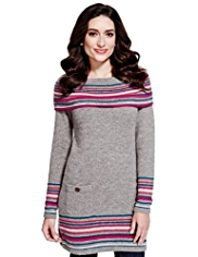 Per Una Cowl Neck Striped Knitted Tunic with Mohair