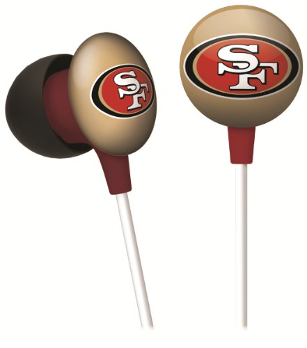 iHip NFF10200SF NFL San Francisco 49ers Mini Ear Buds, Gold/Red