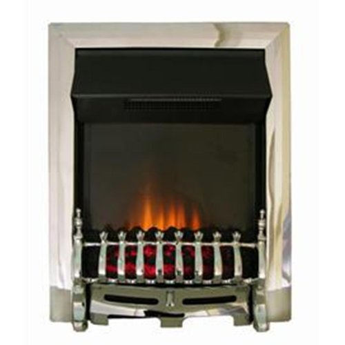 The Adam Ribbon Chrome Electric Fire complete with Chrome Blenheim Fret and Flame Effect