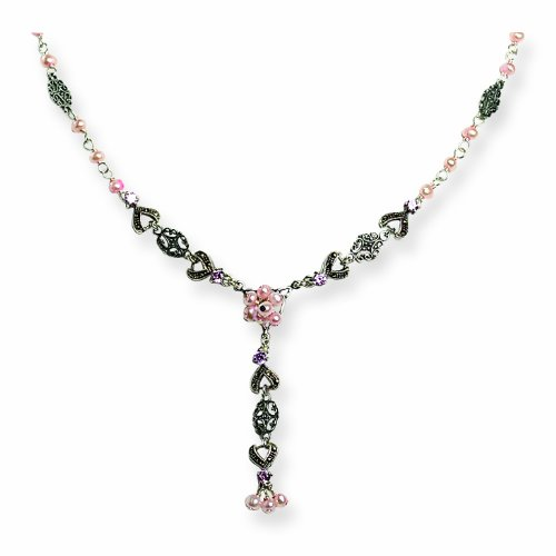 Sterling Silver Pink Fw Cultured Pearl/Crystal & Marcasite Drop Necklace