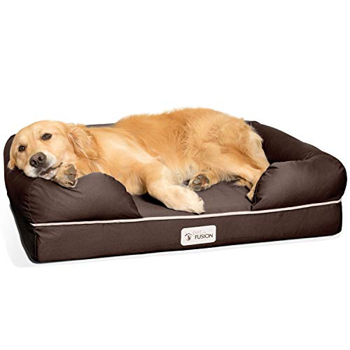 """PetFusion Large Dog Bed w/Solid 4"""" Memory Foam, Waterproof Liner, YKK Premium Zippers. [Brown, 36x28x9 - Sized for Medium & Large Dogs]. Breathable Cotton Blend Cover, Removable & Easy to Clean"""