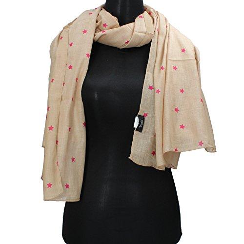 NALì sciarpa pashmina beige arancione verde rosa (Rosa)