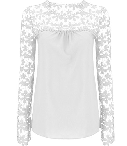 Freedi Women Sexy Hollow Floral Lace Sleeve Blouses Gorgeous Chiffon Shirts
