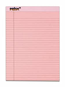 TOPS Prism Plus 100% Recycled Legal Pad, 8-1/2 x 11-3/4 Inches, Perforated, Pink, Legal/Wide Rule, 50 Sheets per Pad, 12 Pads per Pack (63150)
