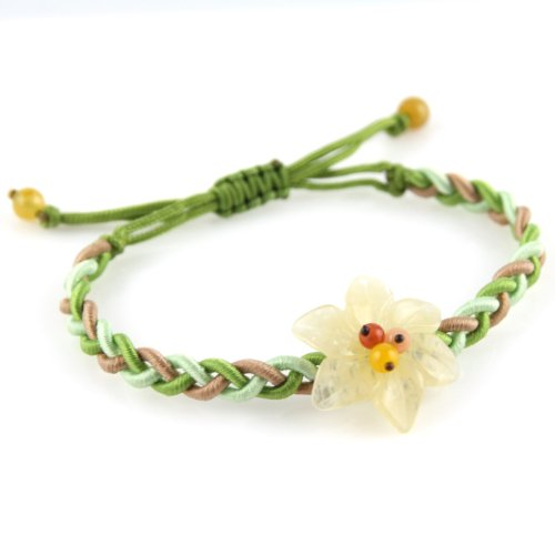 Transparent Yellow Jade Stone Flower - Green Lime Green And Nude Adjustable Bracelet