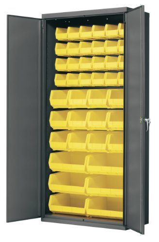 """Akro-Mils Ac3618 Y Steel Storage Cabinet With Flush Doors, Louvered Panel On Back Wall, And 42 Yellow Akrobins, 36"""" W X 18"""" D X 78"""" H front-163193"""