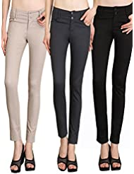 NGT Womens Pack Of Beige, Grey And Black Formal Trousers In Special Quality.