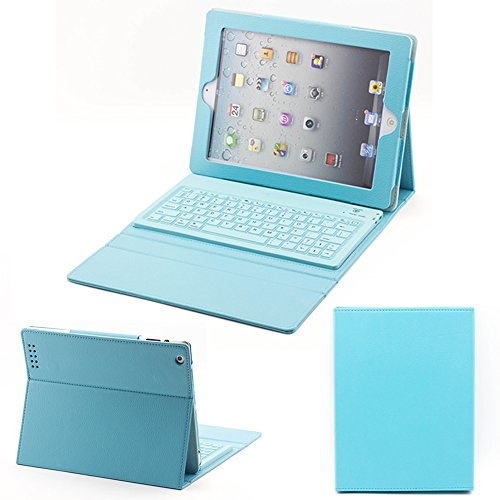 Supernight Wireless Silicone Bluetooth Keyboard Case Cover For Apple Ipad 2 2Nd 3 3Rd 4 4Th Gen Generation Tablet .Color :Blue