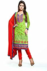 Fabvila Green Chanderi A-line Unstitched Dress Material