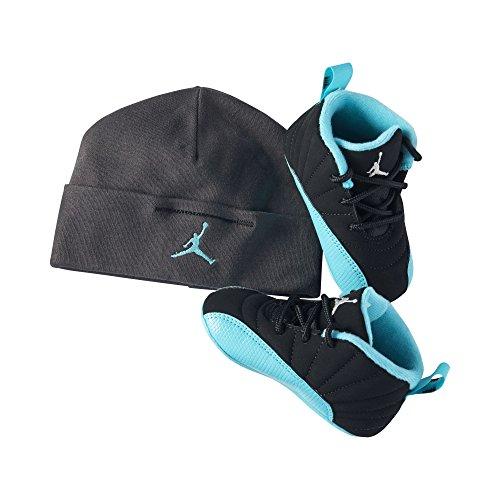 Nike Air Infant Black/Metallic Silver/Hyper Jade Jordan Retro 12 Shoes Gift pack - 3 M US Little Kid