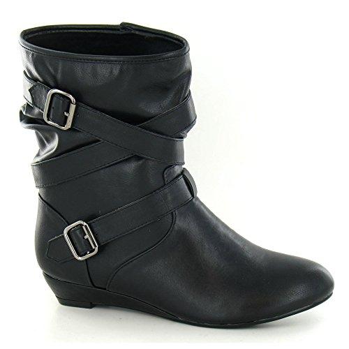 Spot On - Stivaletti alla caviglia con fibbia decorativa - Donna (39 EU) (Nero)