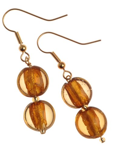 The Jewellery Factory Gold Plated Gold Murano Style Double Drop Bead Earrings