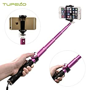 TUPELO® Selfie Stick, Foldable QuickSnap Pro Self-portrait Monopod Extendable Wired Selfie Stick with Bluetooth Remote Shutter /Adjustable Phone Holder for iPhone 6s,6 Plus,5,5s,5c,IOS/Android (Pink)