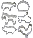 6 - FARM Themed Cookie Cutters - Rooster, Pig, Horse, Cow, Barn, Mouse