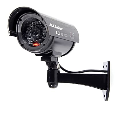 Masione® Simulated Surveillance Cameras - New Wireless IP Camera Security Surveillance fake Dummy IR LED cameras - Night/Day Vision Look Bullet CCD CCTV Imitation Dummy Camera - Weatherproof bullet housing, multiple Flashing Blinking Red infrared LEDs, In
