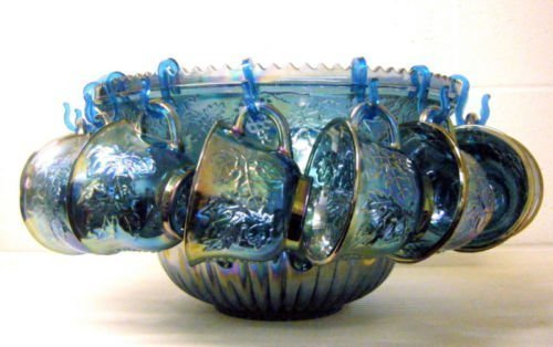 Vintage Indiana Blue Carnival Glass Princess Punch Bowl Set Vintage Carnival Glass