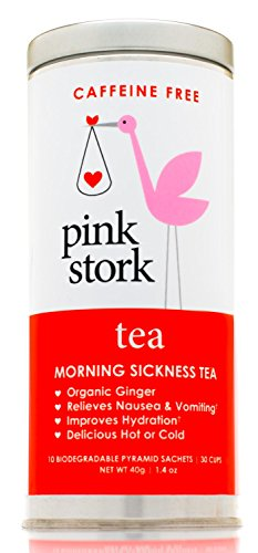 Pink Stork Tea: Morning Sickness Relief Pregnancy Tea -Organic Ginger Peach -Benefits of Ginger Tea, Promotes Relief from Morning Sickness, Nausea, Cramps, Constipation, Stress, and More -Delicious Hot or Cold -30 Cups, Caffeine Free