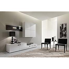 Parete soggiorno completo moderno Trix 02 - Wenghè e Gesso Poro Aperto - Larghezza 240 cm