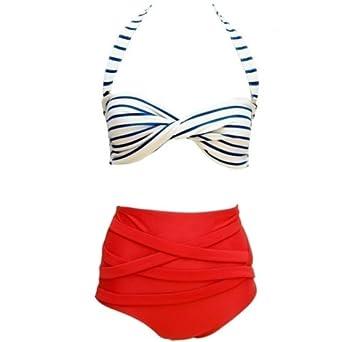 Ebuddy @ Flora Print Vintage High Waisted Bikini Sets Swimsuit Swimwear