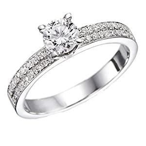 GIA Certified 14k white-gold Round Cut Diamond Engagement Ring (0.60 cttw, K Color, SI2 Clarity)
