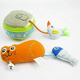 Set of 2 Happy Puppy Plush Cat Toy - Birdy Can Food and Kitty Fish