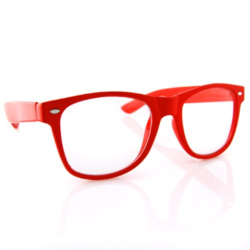 Wayfarer Clear Lens Red
