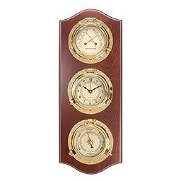 Weather Station in Mahogany Brass Porthole Style