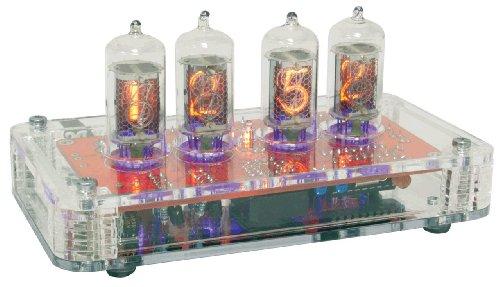 Compact Nixie Tube Clock Kit, Zm Tubes, See-Through Acrylic Base