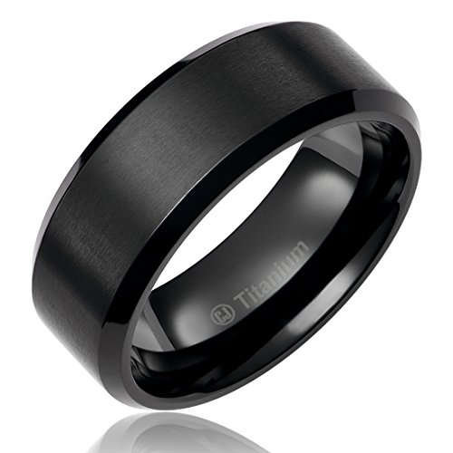 8MM Titanium Promise Engagement Rings for Men | Wedding Bands for Him | Black Plated | Brushed Top and Polished Edges [Size 10] (Black Platinum Ring compare prices)