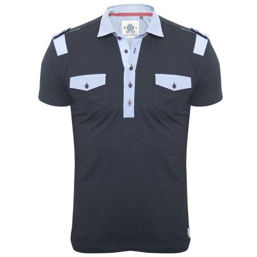 Guide London Men's Navy Designer Polo Shirt SJ3722 T-Shirt Tee Navy Large