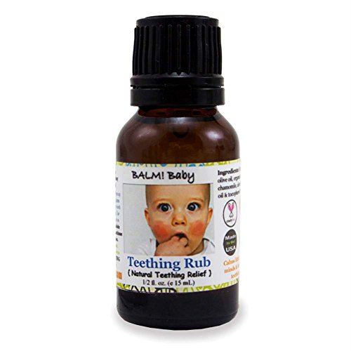 BALM! Baby * Teething RUB! * Natural Teething Relief * Safe | Vegan | Cruelty Free - 1/2oz Glass Bottle - 1