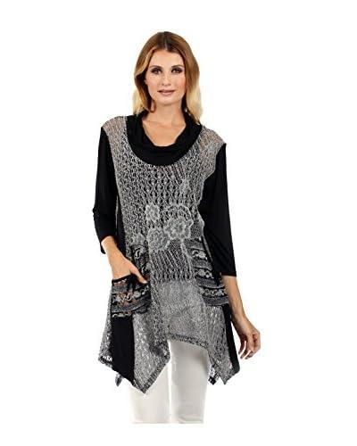Lily Women's Cowl Neck Crochet Tunic  [Black/Grey]