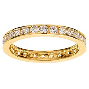 Size 8 1/2 Eternity Channel Cubic Zirconia Band 14k Yellow Gold Ring