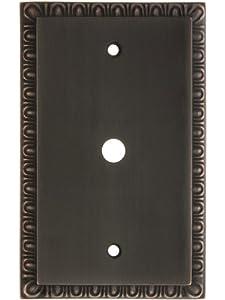 egg dart single gang cable outlet cover plate in oil rubbed bronze egg. Black Bedroom Furniture Sets. Home Design Ideas