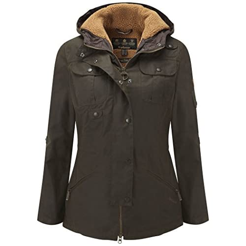 Women's Barbour Winter Force Waxed Parka Jacket - Olive