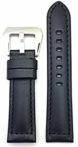 22Mm Black, Panerai Style, Smooth Leather Watch Band