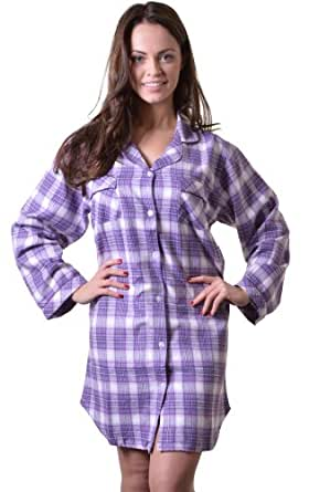 Quality 100% Combed Cotton Nightshirt in Pretty Lilac Check, X Large