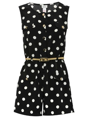 Teen spot belted playsuit
