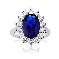 Blue Sapphire CZ British Royal Wedding Engagement Ring Kate Middleton
