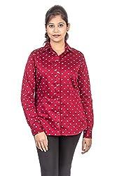 Juee Women's Long Sleeve Shirt (JU101SY1FLMRN) (Large)