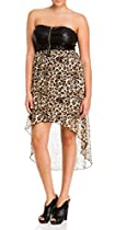 eVogues Plus size Strapless Zip-Front Hi-Lo Dress Animal Print - 1X