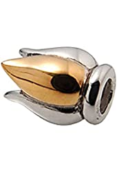Zable Sterling Silver and Yellow Color Plated Flame Bead