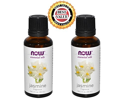 NATURAL Organic Aromatherapy Pure Botanical Therapeutic Grade NOW Foods Essential Oils Set. 2-pack of Jasmine. BEST for Balance, Healing, Relieve, Sleep, Weight Loss, Hair, Cooking, Purify Blends, Diffuser, Perfume, Stress & Massage. Best, Great Gift Idea
