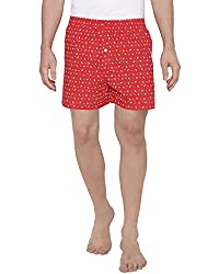 The Cotton Company Men's Soft Cotton Boxer Shorts with Nautical Print - Firebrick Red (S)
