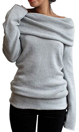 MERRYFUN Women's Spring Off-shoulder Pullover Sweater Bottoming Shirt, Grey S (Clothes Women Sweaters compare prices)