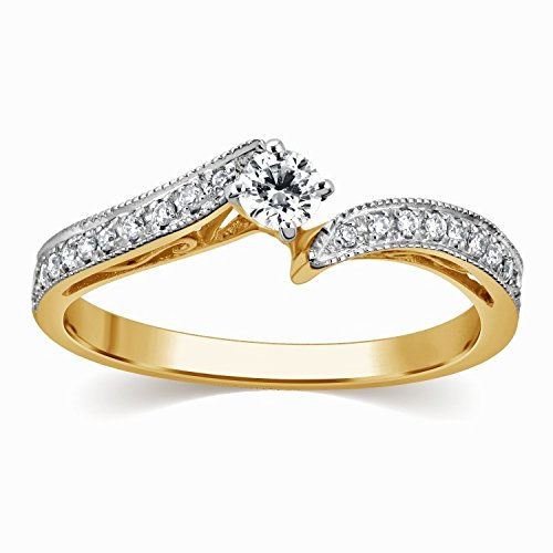 0.58 Carat Inexpensive Engagement ring with Round cut Diamond on 18K White gold