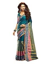 Dark Green Indian Wedding Saree Lace Work Cotton Party Wear Sari
